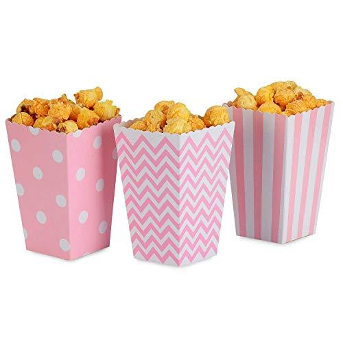 (Cikuso Popcorn Boxen Rosa Trio (36 Stück) Gepunkte Streifen Chevron Streifen Behandlungsbox - Kleine Kinos Popcorn Papiertüten Für Nachtisch Tabellen Und Hochzeit Geschenke)