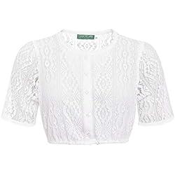 Country-Line Damen Trachten-Mode Dirndlbluse Birte in Weiß traditionell, Größe:44, Farbe:Weiß