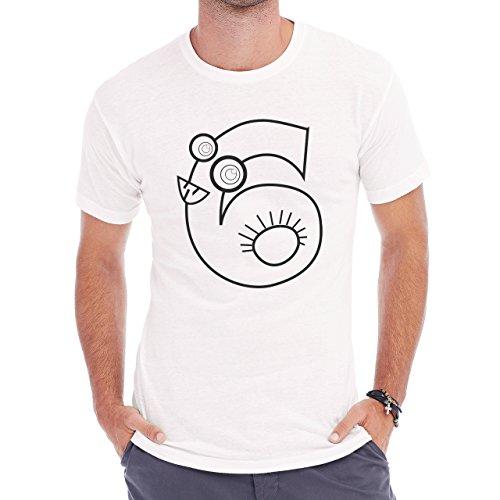 Number Math Symbol Calculus Equations White Six Herren T-Shirt Weiß