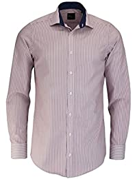 Venti Slim Fit Hemd Langarm mit Besatz Streifen Weinrot