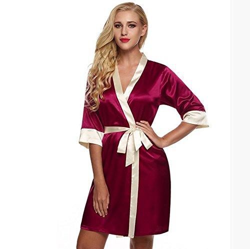 GL&G Hochwertige Seide hohlen Nachthemd Kimono Pyjama Wolljacke Kleid Rock sexy kurzen Absatz Frauen atmungsaktive (Robe Kimono Satin Erwachsenen)