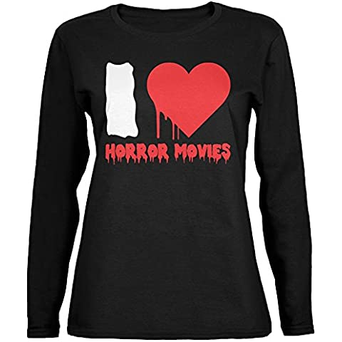 Halloween che horror film nero Womens Long Sleeve t-shirt di cuore I