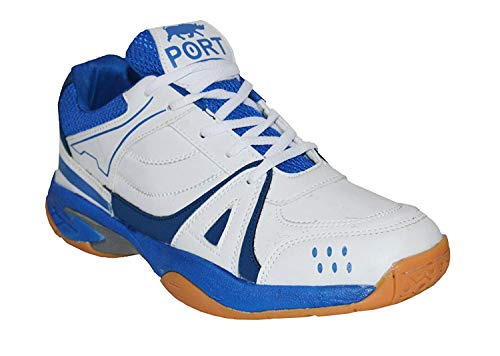 Port White Badminton Shoe For Men, Boys, Women, Girls & Junior Upper PU Material Non Marking Sole Outdoor Indoor Playing - Best in Badminton & Other Games Basketball, Volleyball, Running, Gymnastic, Jogging, Walking & Weight Lifting Sports Shoes (Size 11 IND/UK) (ART. 523)