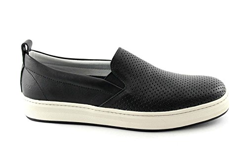 FRAU 28L7 nero scarpe uomo sneakers slip-on elastico pelle forate 43