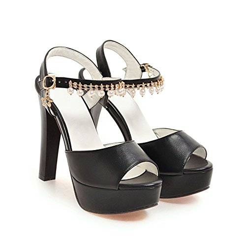 LGK&FA Estate Donna Sandali sandali Ladies Estate con spessi tacchi alti di tavola di acqua Bocca di pesce scarpe 37 nero tacchi alti 9cm 34 black high heels 12CM