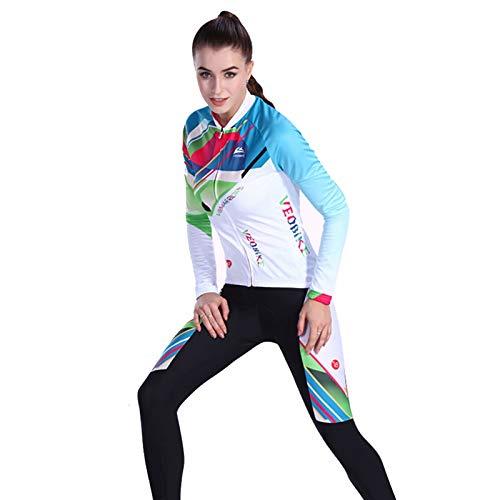 SonMo Damen Radfahren Jersey Set Fahrradbekleidung Set Schutz Radjacke + Fahrradhose Langarm Radtrikot Sommer Elastische Atmungsaktive Schnell Trocken Reflektorstreifen Blau M