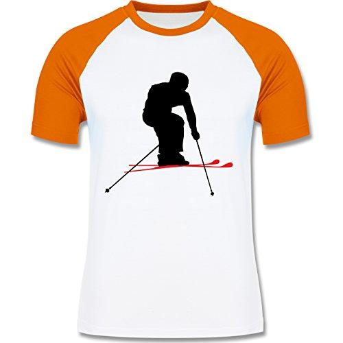 Wintersport - Skifahren Urlaub - zweifarbiges Baseballshirt für Männer Weiß/Orange