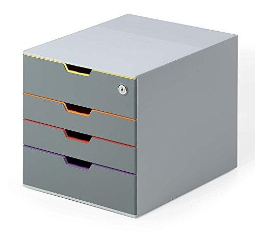 Durable 760627 Schubladenbox abschließbar (Varicolor, 4 Fächer, mit Etiketten zur Beschriftung) mehrfarbig