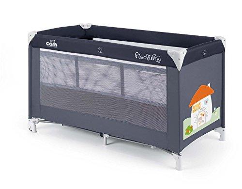 CAM Reisebett Pisolino ❤ inkl. Reisebettmatratze, Verdeck, Fliegengitter & Tragetasche mit seitlichem Einstieg klappbar Babybett (Häuschen Dunkelblau)