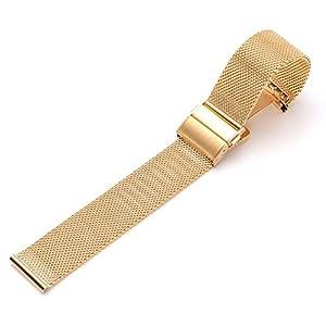 JSDDE Edelstahl Mesh Uhrenarmband Metallarmband Uhrenarmbänder Uhrenband Watch Band mit Sicherheitsverschluss 18mm 20mm 22mmm