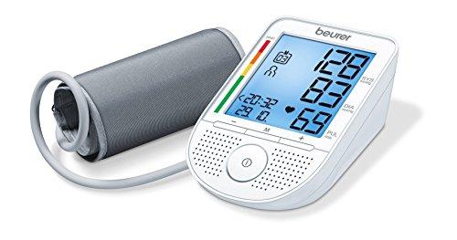 Beurer BM 49 - Tensiómetro de brazo con voz, indicador OMS, memoria 2 x 60 mediciones, idiomas de ajuste en español, inglés, portugués y griego