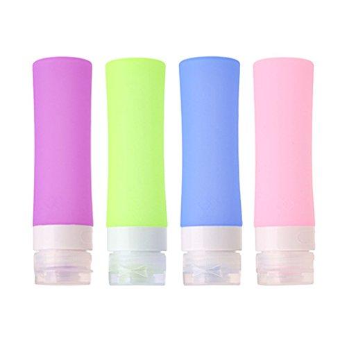 JasCherry Flacon en Silicone Bouteilles de Voyage - BPA sans Approuvé par la ligne aérienne TSA - Pour le shampooing, revitalisant, lotion etc - Set Kit de 4 Pièces (Capacité 80 ml)