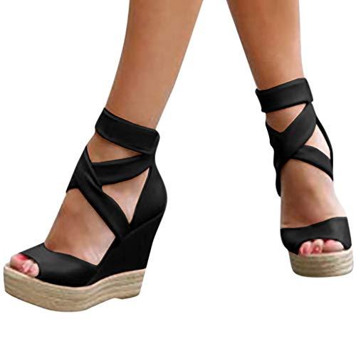 Damen Sommer Sandalen Keilabsatz Plateau Cross Strap Wedge Peep Toe Römische Schnalle Schuhe Dicken Boden Sexy High Heels Römische Schuhe (43 EU, Black) - Cross Strap Wedge Heel