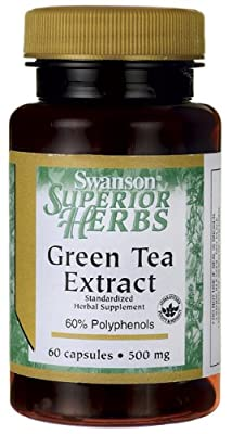 Swanson Superior Herbs Standardised Green Tea Extract Capsules, 500 mg, 60-Count