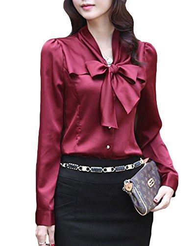 Donna Blusa Chiffon Con Fiocco Cravatta Camicetta Bodeaux