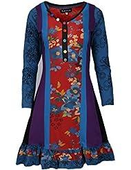 manches longues robe d'été dames avec la conception d'impression florale au balayage de fond