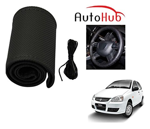 Auto Hub Premium Quality Car Steering Wheel Cover For Tata Indica - Black  available at amazon for Rs.199