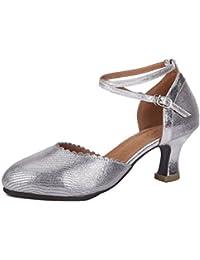 WXMDDN Latin Dance Schuhe silber Dance Schuhe Tanz 7.5cm hochhackigen Schuhe innen weichen Boden schuhe Tanz Jazz Dance Dance Shoe,E34