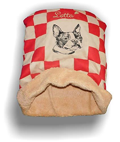 LunaChild Hunde Kuschelhöhle Handmade Schlafsack Kuschelsack Hundebett Boston Terrier 1 Name Wunschname bestickt Snuggle Bag S M L XL vielen Farben Unikat persönliches Geschenk personalisiert - Personalisierte Boston Bag
