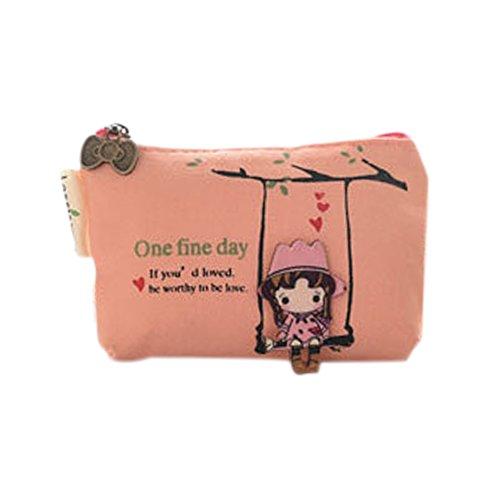 Cosanter Mädchen Geldbörse Geldbeutel Leinwand Schlüssel Tasche, Rosa (Euro Tasche)