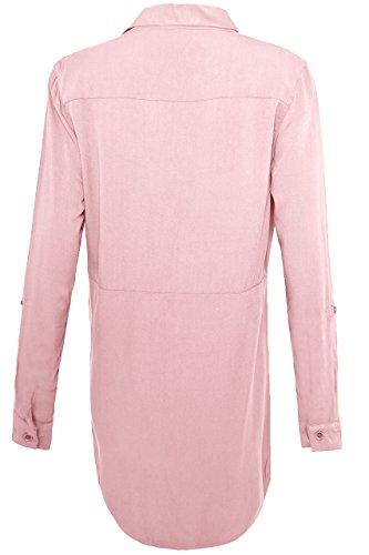 QED - Haut Robe femme avec 2 Poches - Manches Longues - Fermeture À boutons - Décontracté Blush
