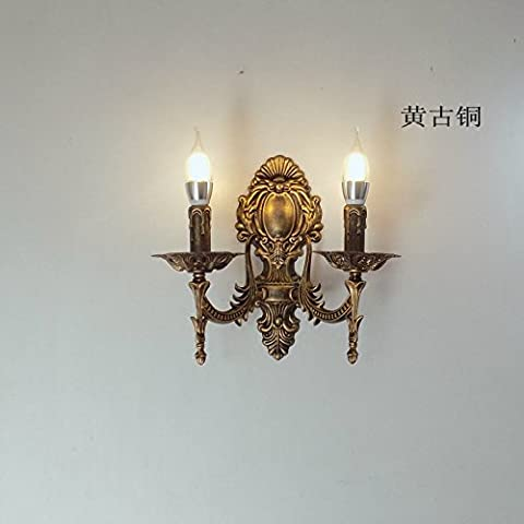 Moderne europäische und amerikanische Single Head Double Kerzenlampe American Pastoral Schlafzimmer Nachttischlampe Objektiv Scheinwerfer Restaurant, Matt Schwarz Doppel Ventildeckel
