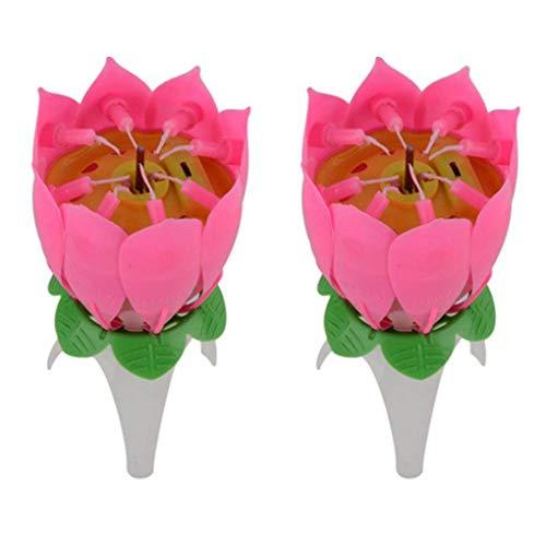 Lidahaotin 2ST Blume Musik Kerzen Single Layer Non Rotating Blumenmusikkerze für Geburtstags-Party-Kuchen -