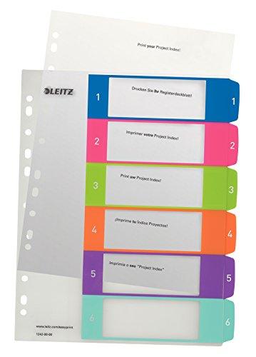 Leitz 12420000 WOW Zahlen Plastikregister (Polypropylen, 1-6, A4, 6 Blatt) farbig