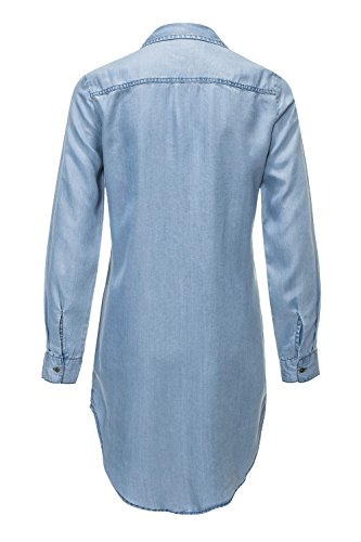 Only Damen Jeansbluse Hemdbluse Langarmbluse Tunika Medium Blue Denim
