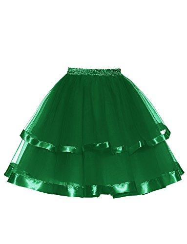 DYSS Donna 50s Sottoveste Tulle Sottogonna Crinoline scivola Corto Multistrato Bolla di balletto Gonna Tutu 22 colori Verde