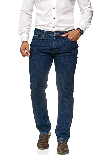 Barbons Herren Jeans - Bügelleicht - Slim-Fit Stretch - Business Freizeit - Hochwertige Jeans-Hose Blau 38W / 30L (Stretch-jeans)