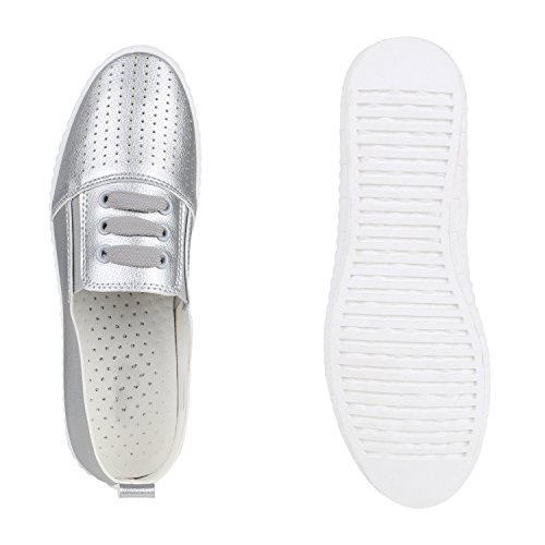 Bequeme Damen Sneakers Slip-ons Sportliche Slipper Schuhe Silber