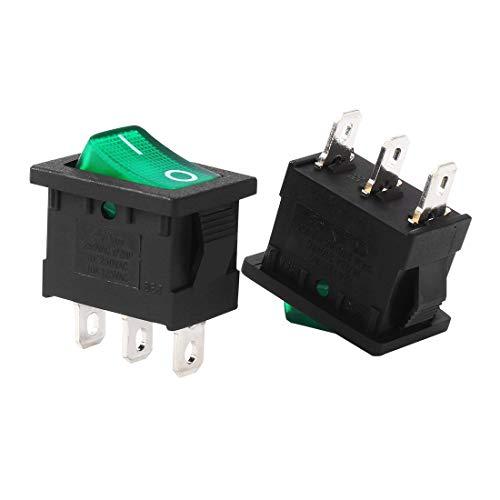 ZCHXD SPST 3P 2 Position Green LED Boat Light Rocker Momentary Toggle Switch On Off AC 10A/125V 8A/250V (Zwei Position Momentary Schalter)
