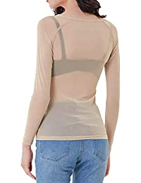 Camisas Mujer Manga Larga, Mujer Transparente Sexy Casual Blusas Tops del Camisetas y Cuello V Blusa Ligera Mujer Blusas Casual Sólido Gasa Camisa