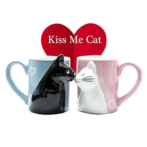 ¡Conjunto de taza de café CAT de cerámica bellamente diseñados para parejas!   ¡Usted y su cónyuge disfrutarán de una relajante mañana con su nueva taza de café divertida, que contiene 350 ml de su café, té o chocolate caliente favorito!   Color: N...