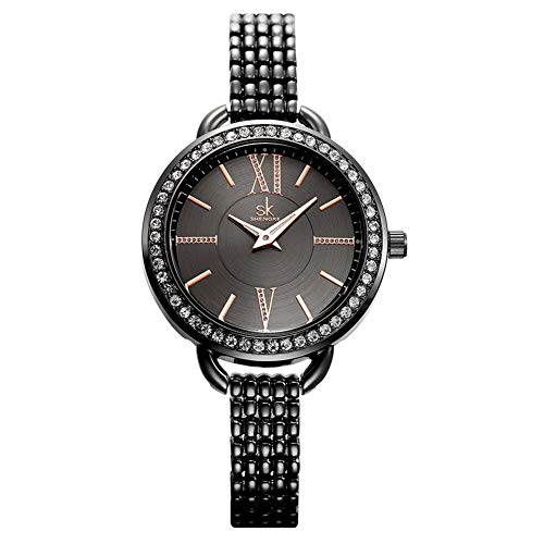 SW Watches Frauen Rose Gold Uhr Mode Armband Bügel Glänzender Diamantschmuck Damen Quarz Armbanduhren,Black