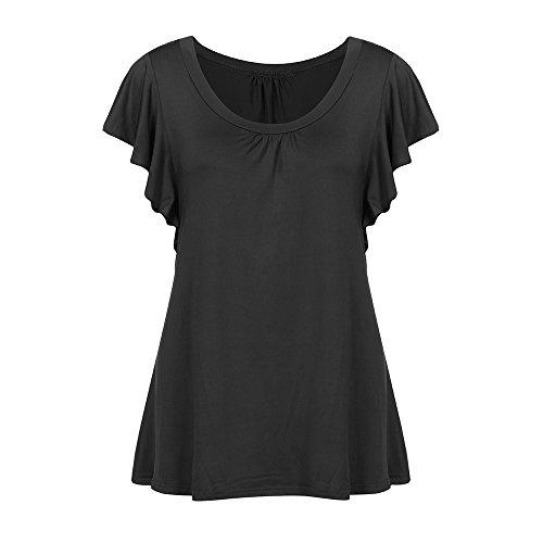 UFACE Top Model Top Damen Sommer ANK Top Damen Tank Top Damen Sexy Frauen-Sommer-beiläufiger runder Ansatz-festes Kurzarm-T-Shirt ()