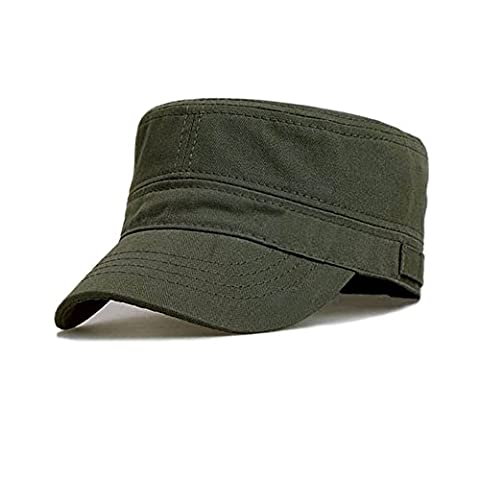 Ambysun Cotton Flat Top Peaked Baseball Twill Army Millitary Corps Hat Cap Visor (Army Green)