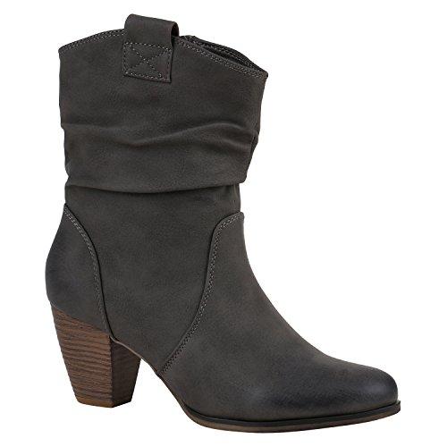 Damen Cowboy Stiefel Western Stiefeletten Leder-Optik Schuhe 151927 Grau Carlet 36 Flandell