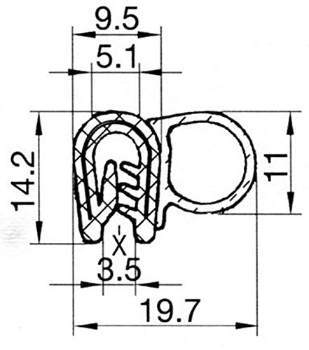 /3/M /Negro/ /3,5/mm/ eutras Junta Perfil KSD2010/Puerta goma para maletero Junta/ /Rango de sujeci/ón 2,0/