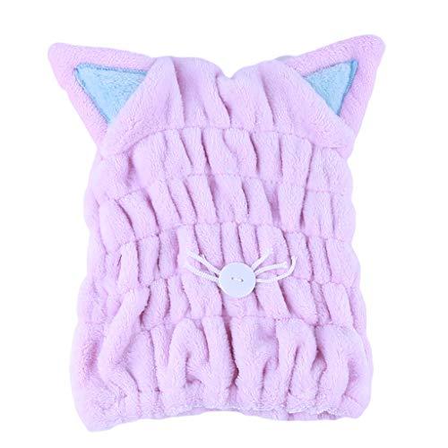SEVENHOPE Haar Trocknende Handtücher Katze Ohr Haar Kappe Schnell Trockener Hut Karikatur Katzenhaar Wickeltuch (Rosa)