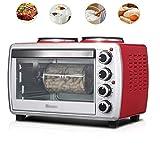 ZZAZXB 26-Liter-Elektronischer Miniofen-Küchen-Begleiter, Doppelseitige Heiße Platte, Voreinstellung Funktion Und Temperaturanzeige, Tischplatte-Brot-Maschine, Hauptküche-Multifunktionsgrill, Rot