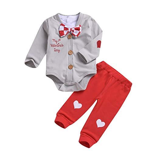 sunnymi  ® 0-24 Monate 3PC Baby Jungen Valentines Kleinkind Bowknot Strampler Tops + Brief Gentleman Overall + Hosen Set
