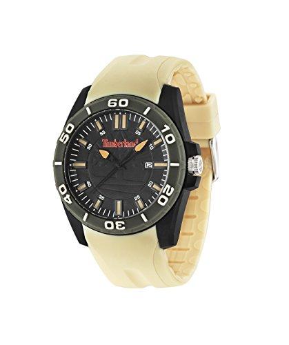 Timberland Dunbarton 14442JPBGN/37P, orologio da uomo al quarzo, con quadrante analogico verde e cinturino in silicone di colore beige