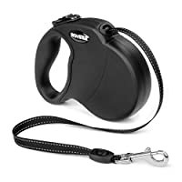 Retractable Dog Lead, WINSEE 5M Extendable Dog/Pet Leads/Leash for Small Medium Dogs Up to 20 KG, One Button&Lock with Reflective Belt( Black)