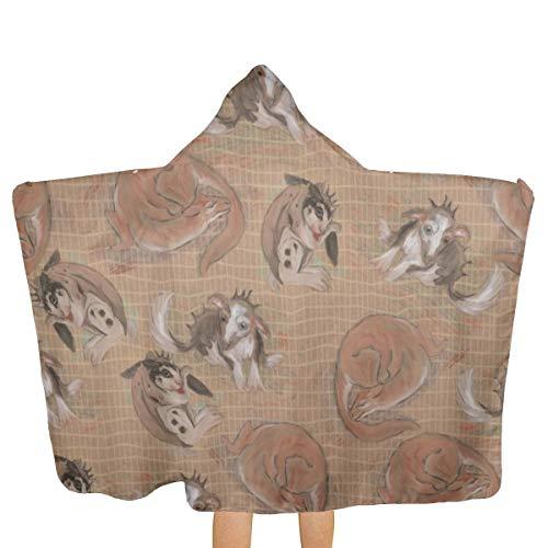 Adoptable Cat Bunny and Dog Dragons Beach Towel with Hood Swim Pool Multi-use for Bath/Shower/Pool/Swim 31.8