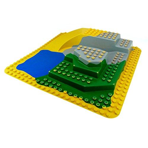 1 x Lego Duplo 3D Platte 38 x 38 cm 24x24 Noppen gelb grün grau blau Felsen Zoo Safari Park Wasser See zerkratzt 2295