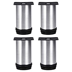 Tinksky Metal Table Legs Kitchen Adjustable Feet Round Furniture Legs- 4pcs (Silver)