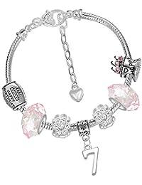 Charm-Armband zum 7. Geburtstag mit Einhorn-Geburtstagskarte und Geschenkbox