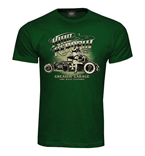King Kerosin T-Shirt Greaser Garage Bottle Green